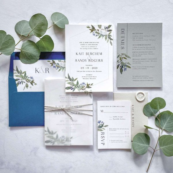Wedding invitation suite with greenery accents by Paperwhites
