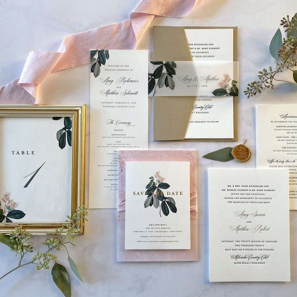 Gold foil vintage wedding invitation suite by Paperwhites
