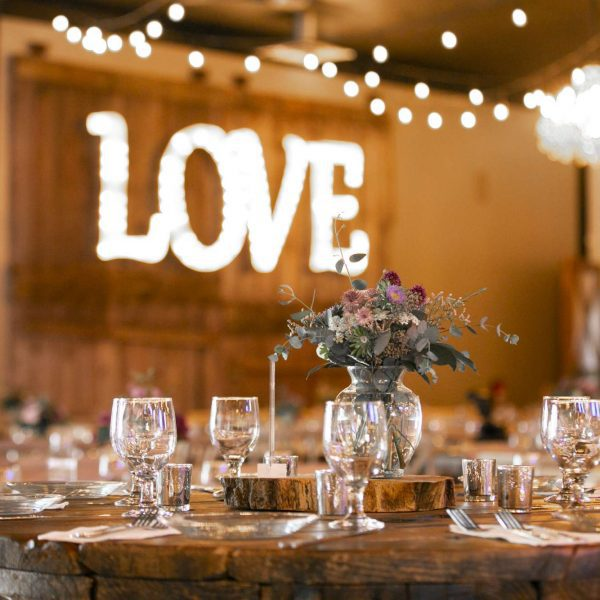 Love sign at wedding reception at Terrace 167