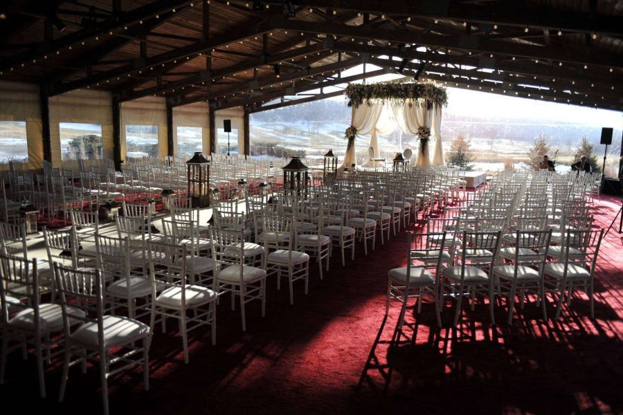 White Chiavari chairs at a Hawks View wedding ceremony- All Star Rentals- WI wedding rentals