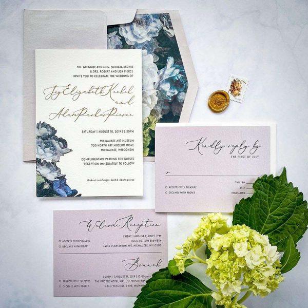 Hydrangea wedding invitation suite by Paperwhites