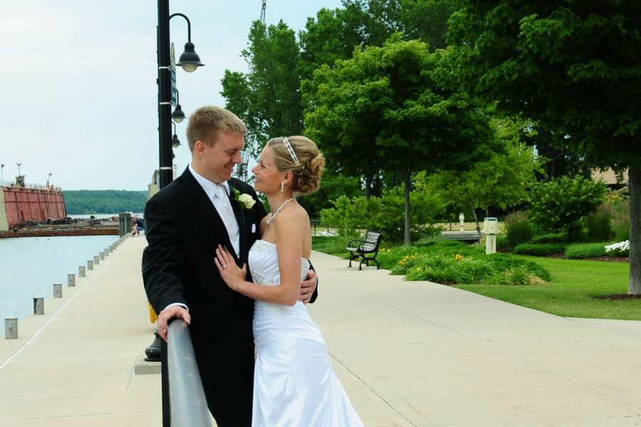 Stone Harbor Bride and Groom by waterfront at Stone Harbor