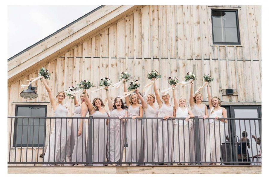 Bridal party outside the Barn at the Bog
