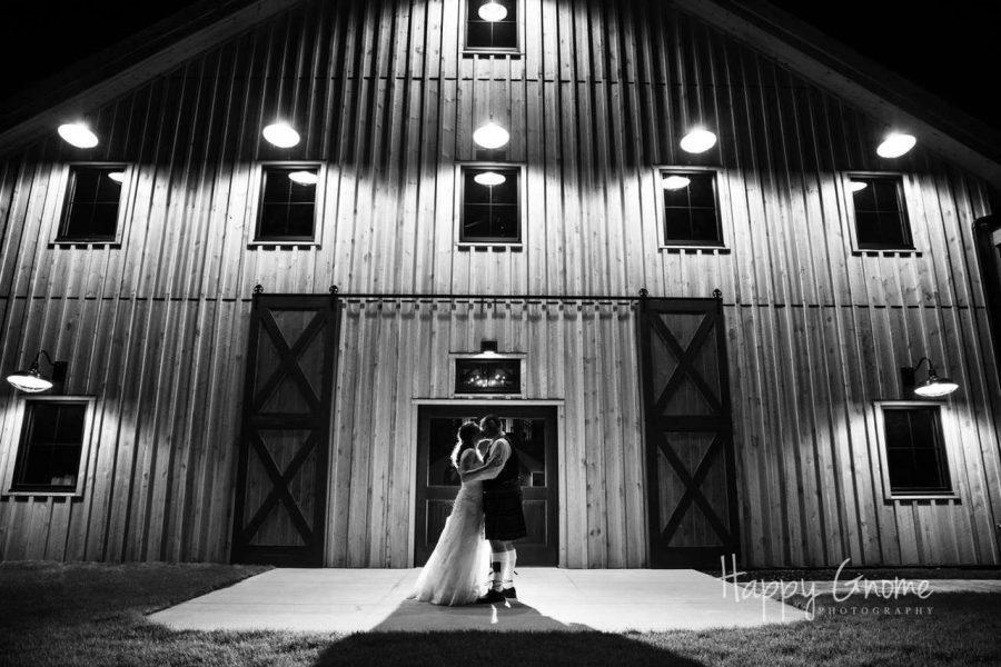 Bride & GRoom outside the Barn at the Bog- Saukville WI wedding venue