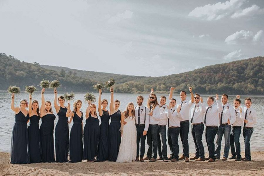 Group Bridal Party Image with lake background by Indian Summer Photography