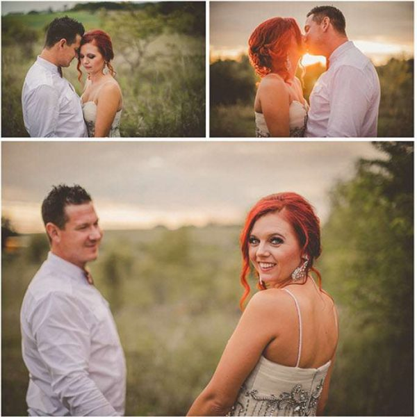 Series of images with Bride and Groom in field setting