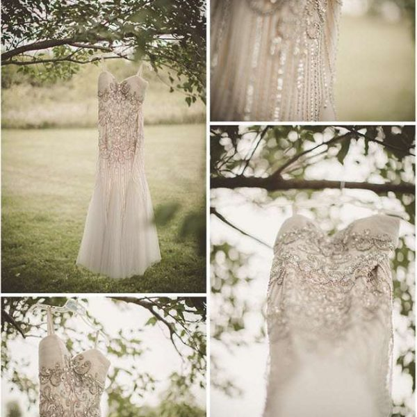 Brides wedding gown handing in tree for hanger for attractive detail photo