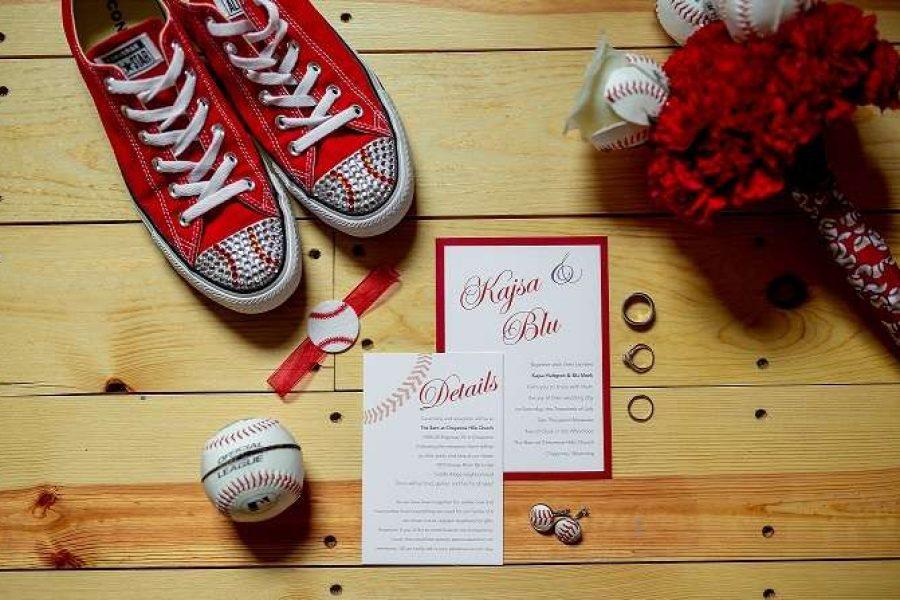 Baseball themed custom wedding invitations by CMYKnot