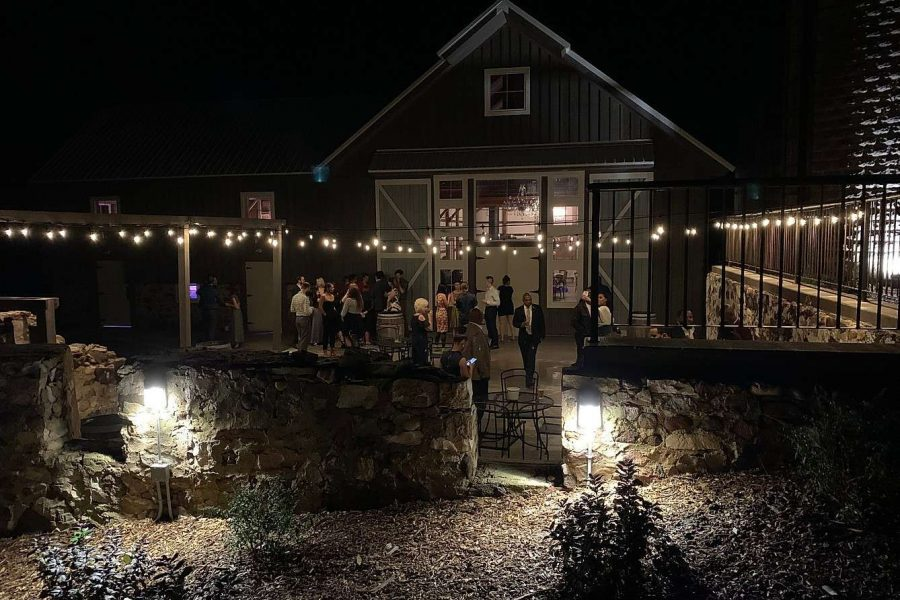 outdoor patio area lit up at Lilac Acres