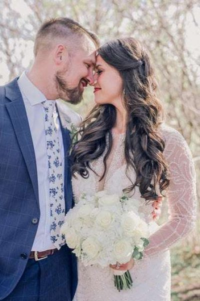 Wedding couple outside intimate moment by Memory Lane Photography