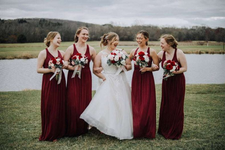 Outside Bride with Bridesmaids