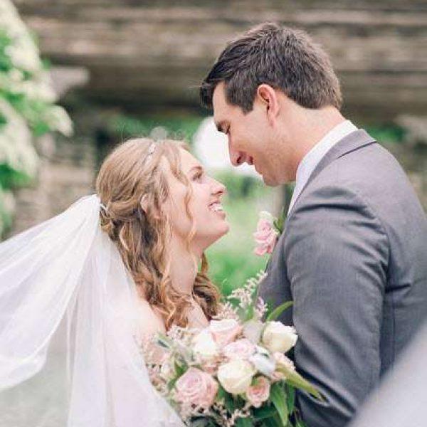 Close up wedding couple outside