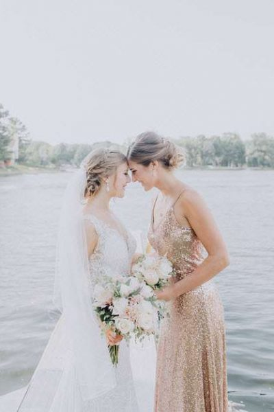 Bride with Bridesmaid in a special moment