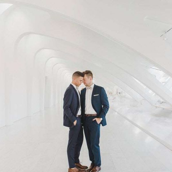Male Wedding Couple at the Milwaukee Art Museum by Memory Lane Photography