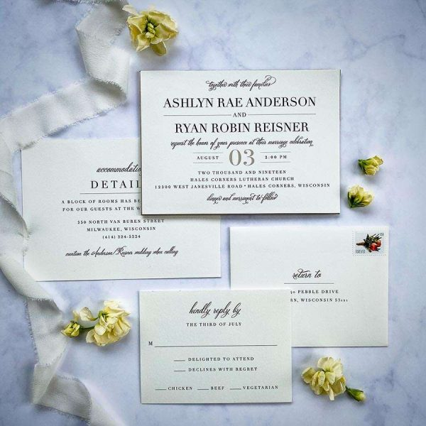 Modern traditional wedding invitation suite by Paperwhites