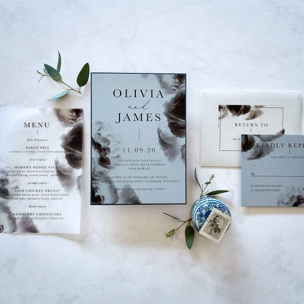 Moody blue floral wedding invitation suite by Paperwhites