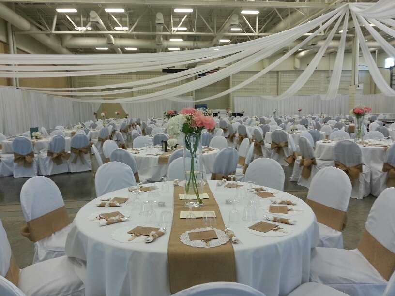 Elegant wedding reception at Washington County Fair Park & Conference Center in white at the
