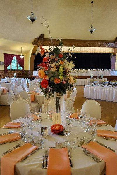 Beautiful centerpiece at Chandelier Ballroom wedding