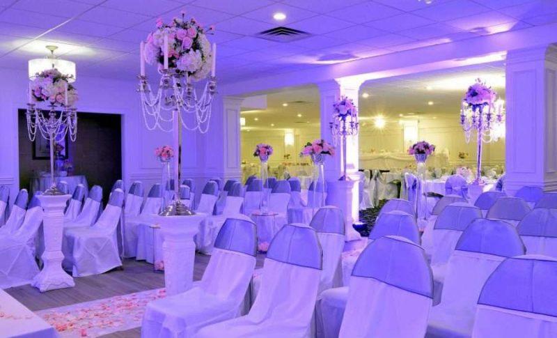 Panos Wedding Ballroom set up for ceremony