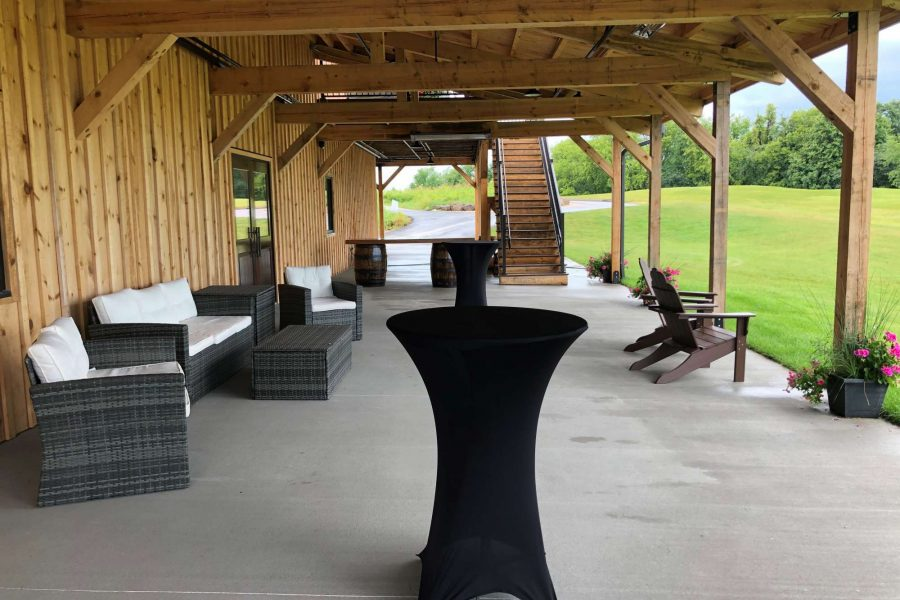 Outdoor patio area at the Barn at the Bog
