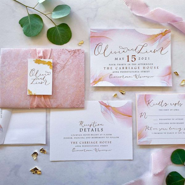 Peach and gold leaf wedding invitation suite by Paperwhites