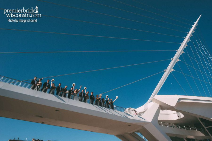 Group Wedding Picture on Bridge at Milwaukee Art Museum