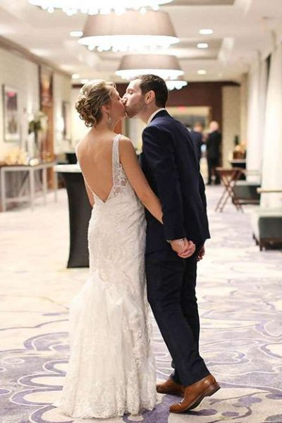 Outside Ballroom couple kissing