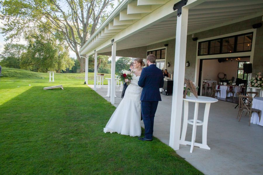 Bride and groom at the Carriage House