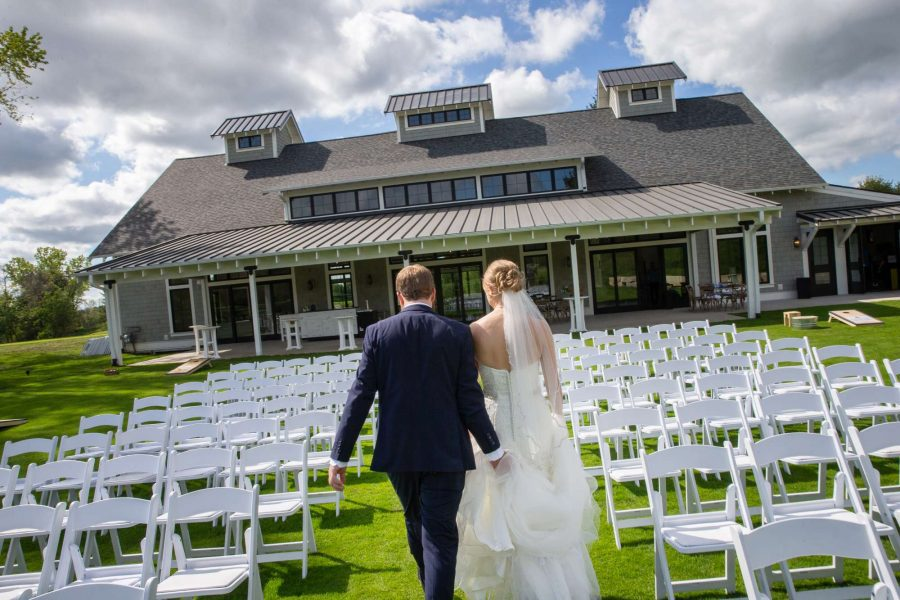 Wedding ceremony at the Carriage House at Lac La Belle