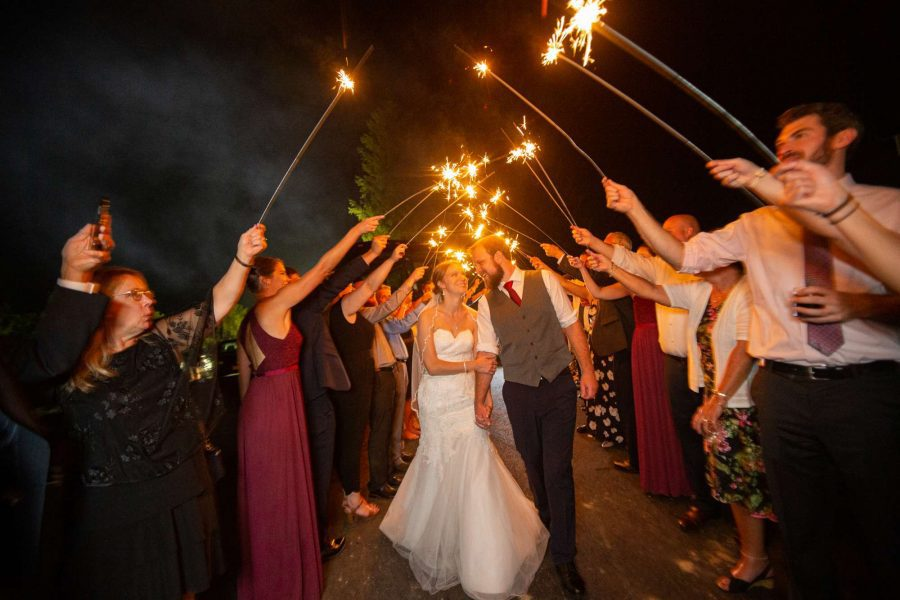 Giant Sparkler sendoff for Bride and groom at the Carriage House