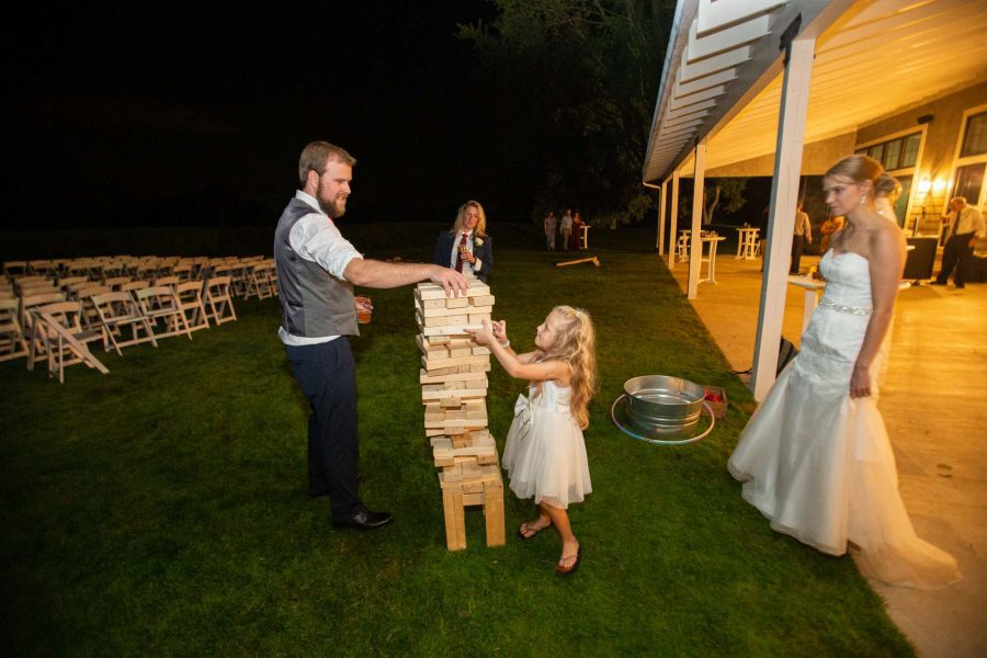 Wedding games- Giant Jenga fun at the Carriage House in Oconomowoc, WI