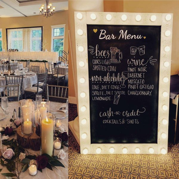 Bar menu sign at Veterans Terrace wedding