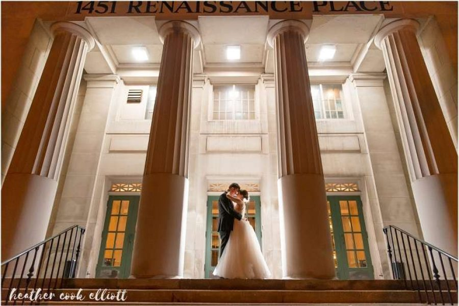 Wedding Couple outside 1451 Renaissance Place