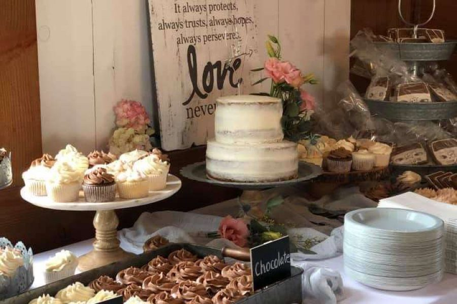 Rustic sweets table set up at Lilac Acres- A wedding & event venue