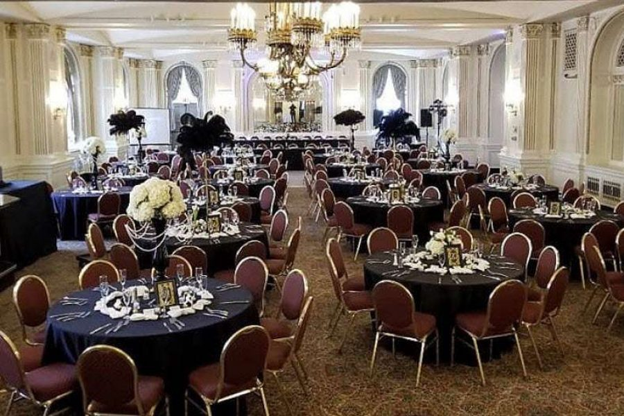 Ballroom set up for wedding