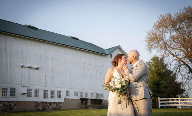 Bride and Groom at the Farmstead in Delavan