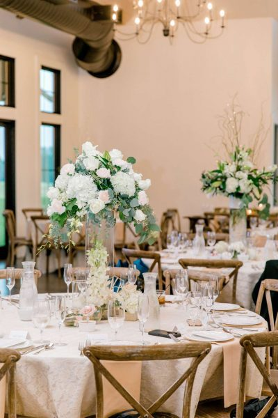 Beautifully set tables at the Carriage House, a wedding venue in Oconomowoc