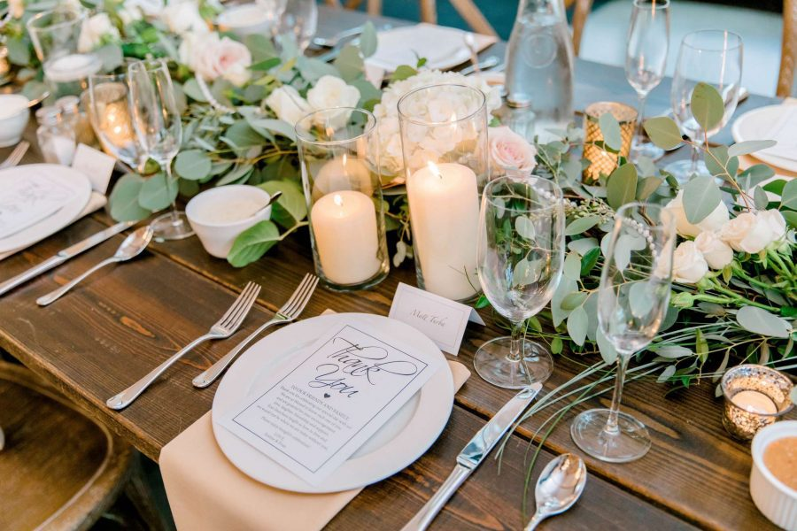 elegant table setting at Carriage House wedding reception