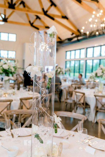 Modern centerpiece at Carriage House wedding in Oconomowoc, WI