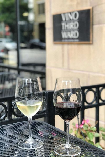 Glass of Red and Glass of White wine at Vino Third Ward MKE