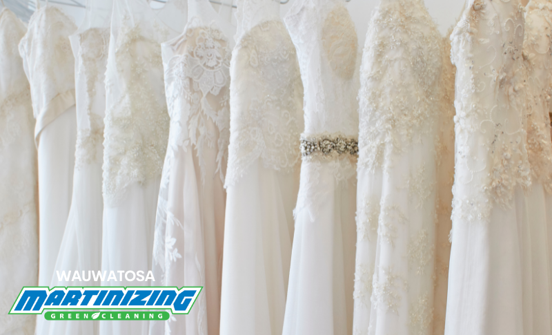 Line of white wedding gowns- Gown Preservation Specialists Wauwatosa