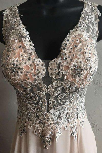 Low cut wedding gown