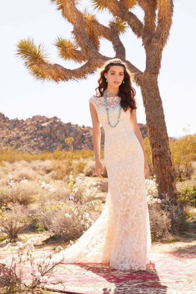 Bride standing in wedding gown with dessert and cactus in background