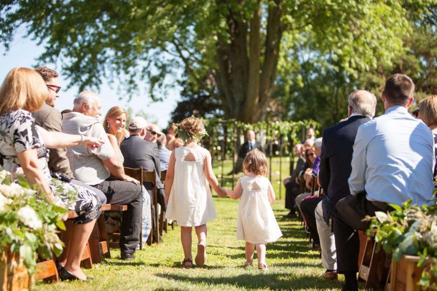 flower girls garden wedding ceremony