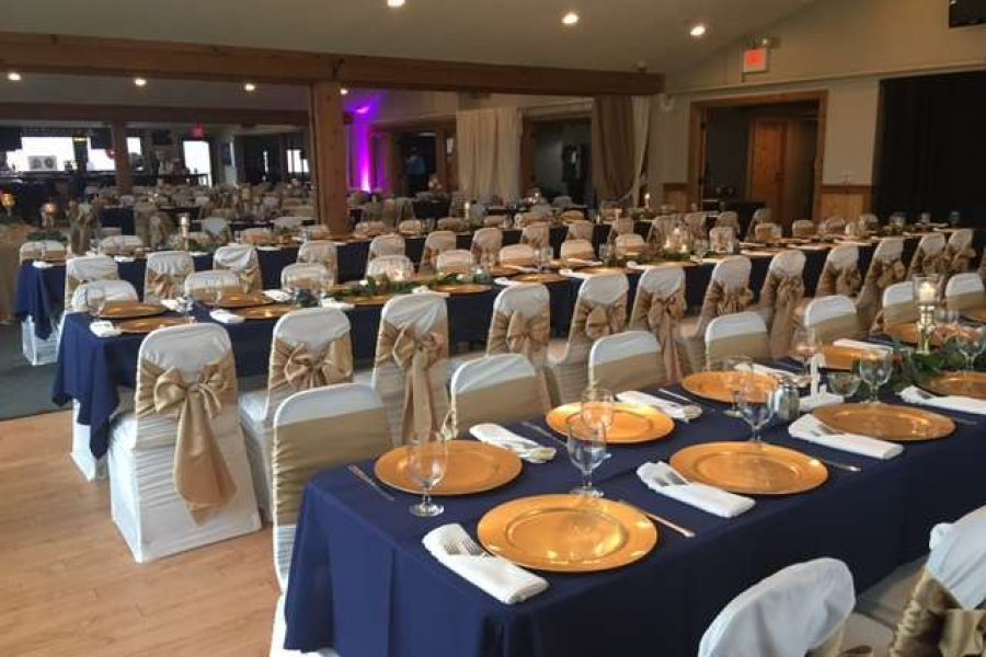 Wedding reception in navy and gold