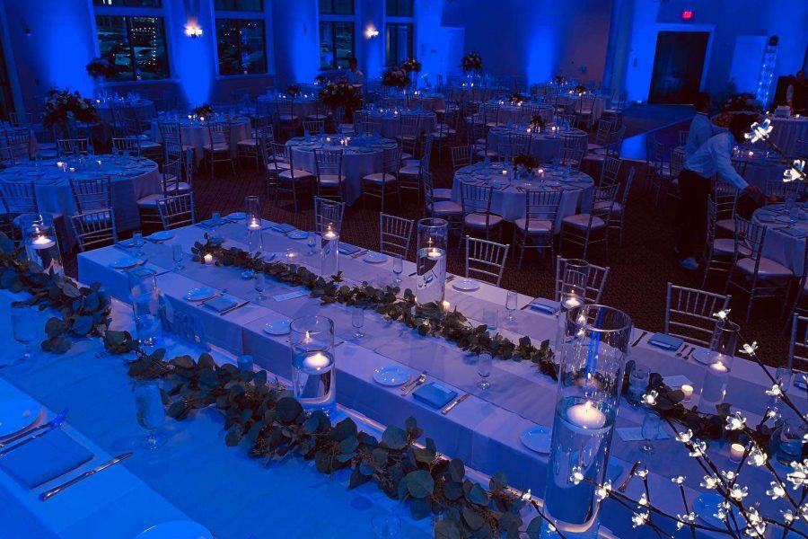 Elegant lit wedding reception at Veterans Terrace