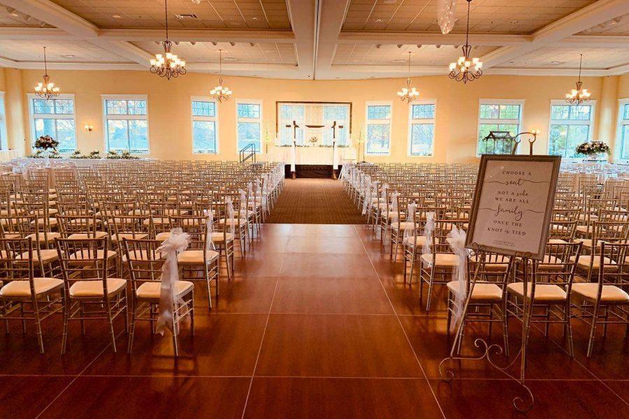 Indoor Wedding ceremony at Veterans Terrace at Echo Park | Burlington , WI wedding Venue