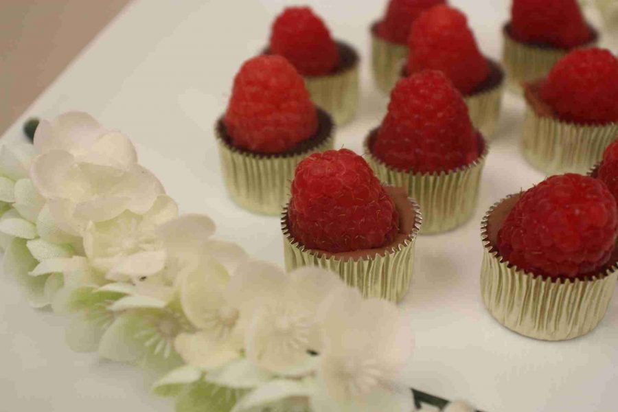 Fancy raspberry topped chocolates wedding favors