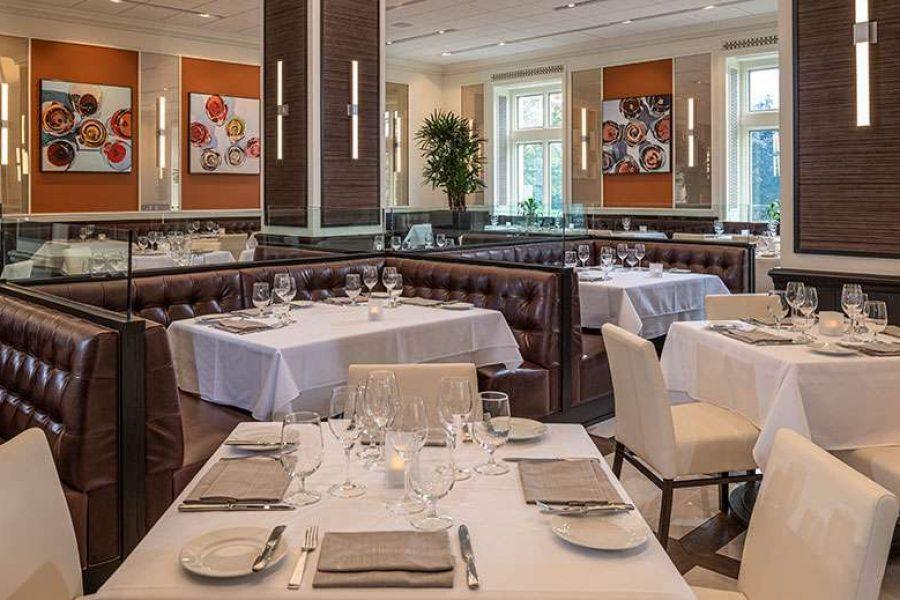 Elegant main dining room at Bacchus in Milwaukee