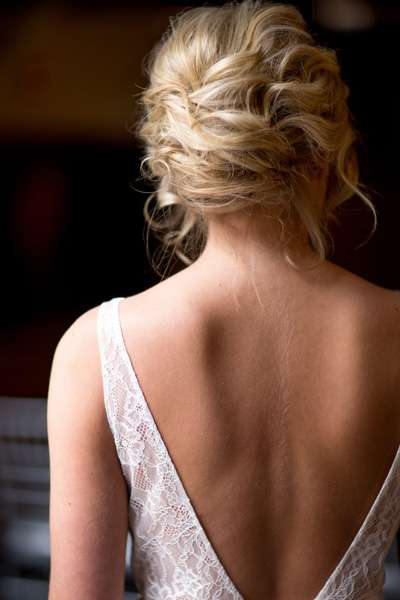 Dramatic V back of bridal gown